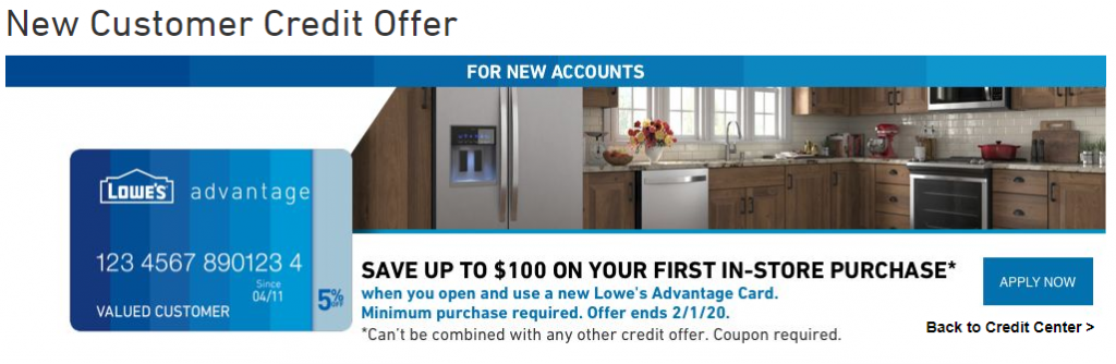 New Customer Credit Offer