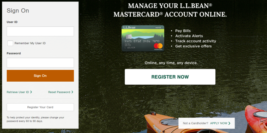 Application for the L.L Bean Credit Card
